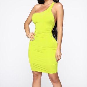 One Shoulder Lime Green Mini Dress